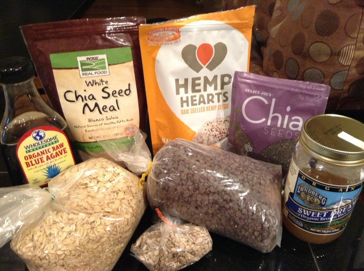 Granola bar ingredients (peanut butter chips are missing)