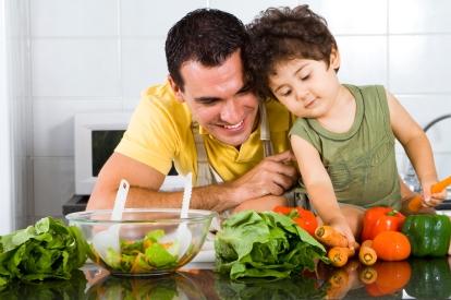 Father son preparing food